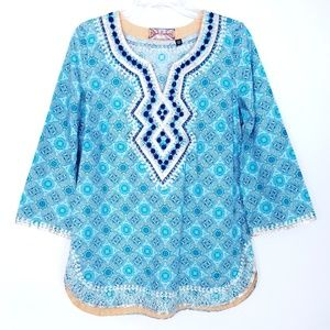 ROBERT GRAHAM Boho Chic Moroccan Style Tunic Shirt